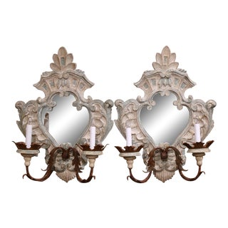 Pair of Italian Carved Painted Oak and Metal Two-Light Mirrored Wall Sconces For Sale