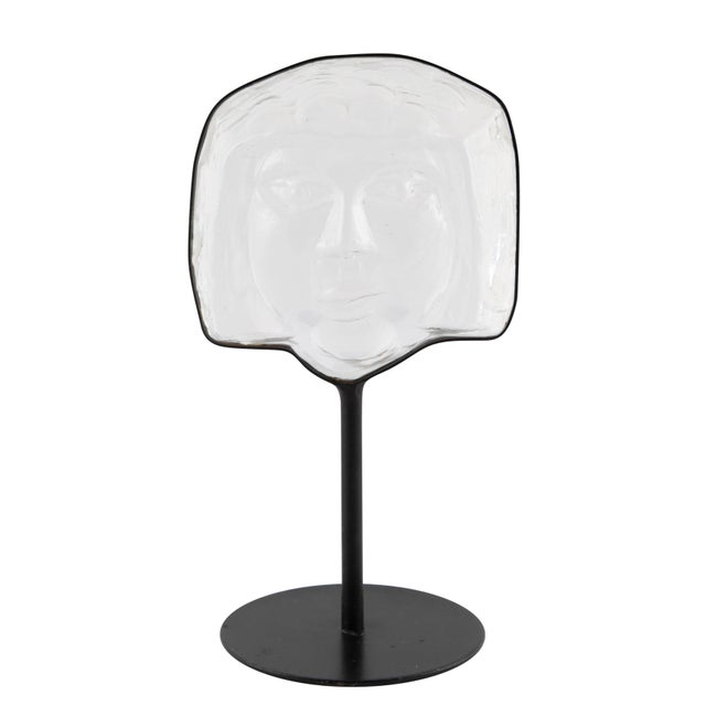 Glass Face Sculpture on Iron Stand by Erik Hoglund for Kosta Boda Circa 1960s For Sale - Image 12 of 12