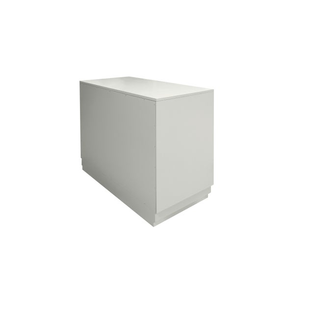 Industrial Minimalistic Maple Filing Cabinet From Garden Street in White with Contrasting Putty Drawer For Sale - Image 3 of 6
