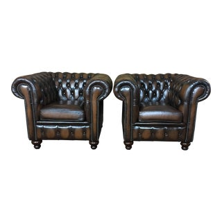 Vintage Mid-Century English Leather Chesterfield Club Chairs - a Pair, Tobacco Brown For Sale