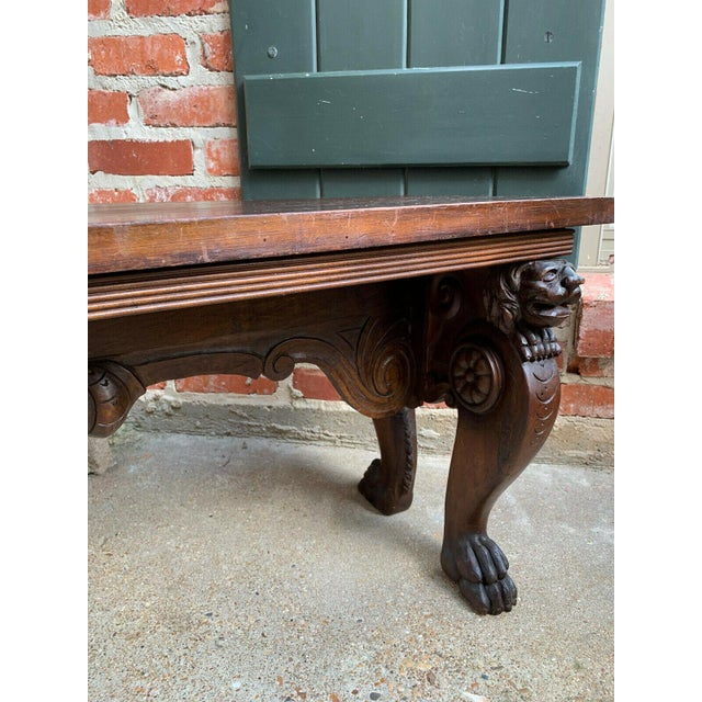 1900s Antique Italian Carved Walnut Renaissance Revival Bench Ottoman For Sale - Image 10 of 13