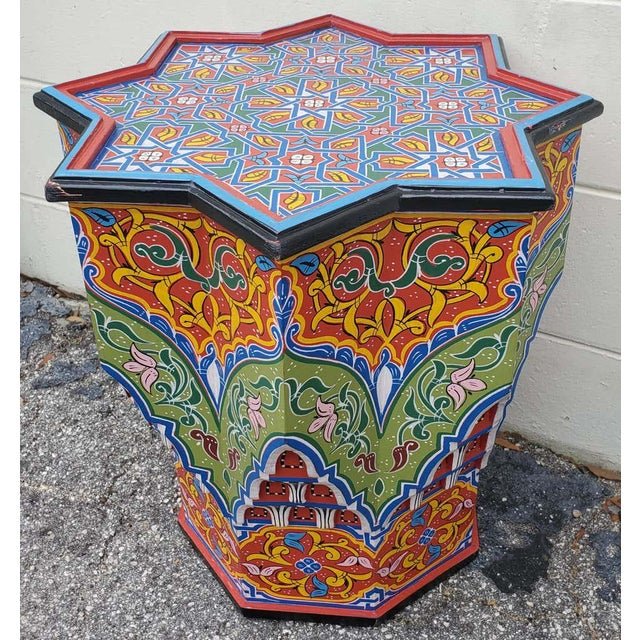 Islamic Moroccan Lg Ceuta 4 Painted and Carved Star Table, Multi-Color For Sale - Image 3 of 8
