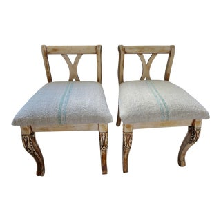French Grain Sack Benches- a Pair For Sale