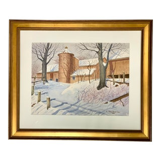Watercolor Painting of New England Barn in Winter For Sale