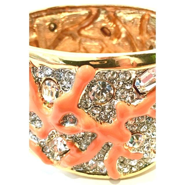 21st Century Kenneth Lane Gold & Faux Coral Swarovski Crystal Bracelet For Sale In West Palm - Image 6 of 11