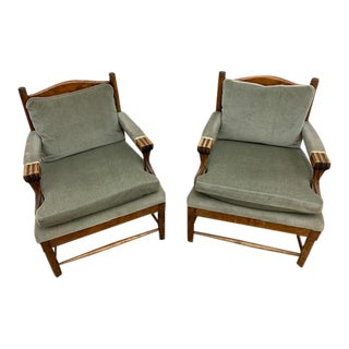 Pair of Midcentury Swedish Ladderback Bergeres For Sale