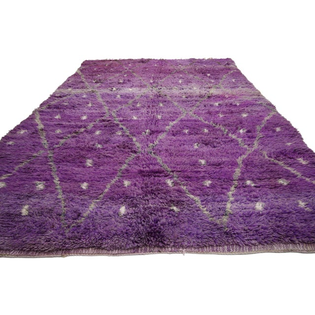 "Textile 20th Century Moroccan Berber Purple Rug with Diamond Pattern - 6'7"" X 10'2"" For Sale - Image 7 of 10"