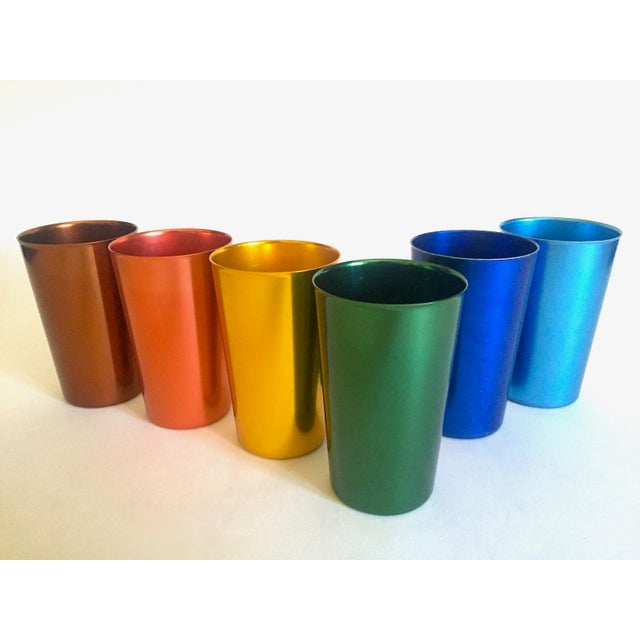 Various Artists Vintage Mid Century Modern Italy Anodized Spun Aluminum Multicolor Tumbler Cups - Set of 6 For Sale - Image 4 of 13