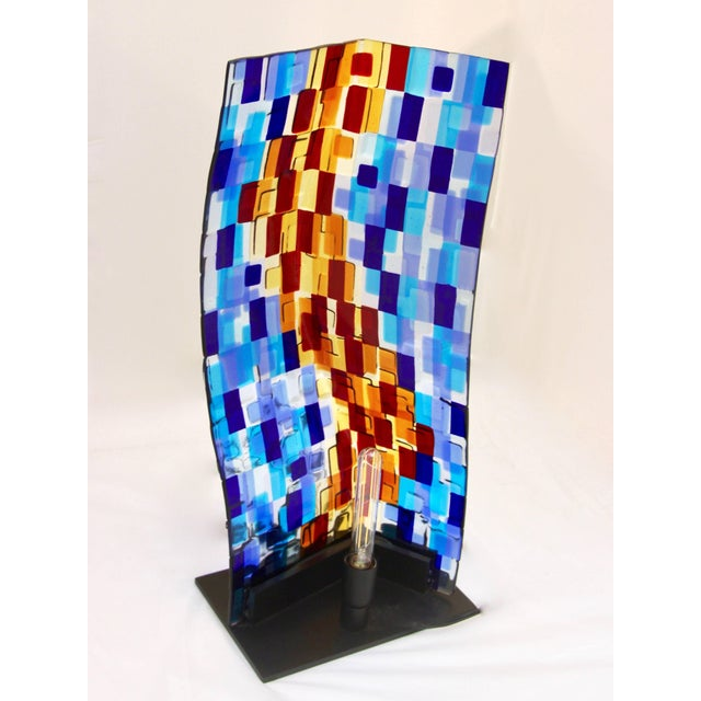 Contemporary Italian Aqua Blue Red Yellow Murano Glass Mosaic Sculptural Lamp For Sale - Image 9 of 11
