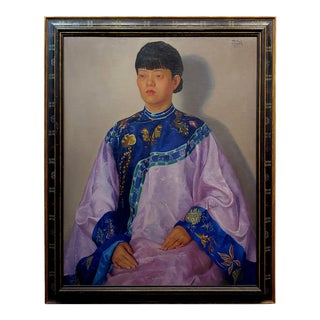 """Dorothy McVey Cother """"Portrait of a Chinese Woman Wearing a Silk Dress"""" Oil Painting For Sale"""