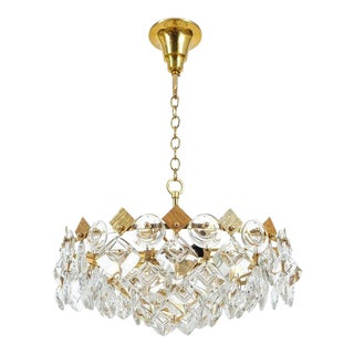 Petite Gilded Brass and Glass Chandelier Lamp by Palwa, 1970 For Sale