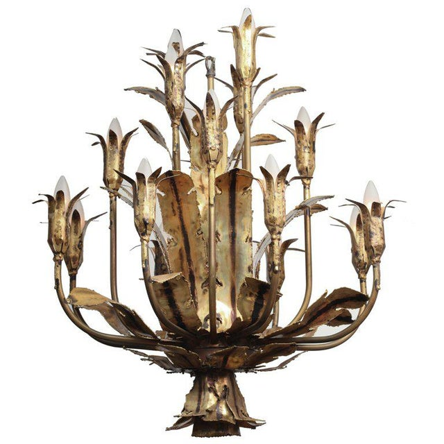 Tom Greene Brass Brutal Style Chandelier For Sale In New York - Image 6 of 6