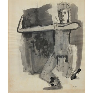 Dancer Figure Drawing 1960-80s Ink For Sale