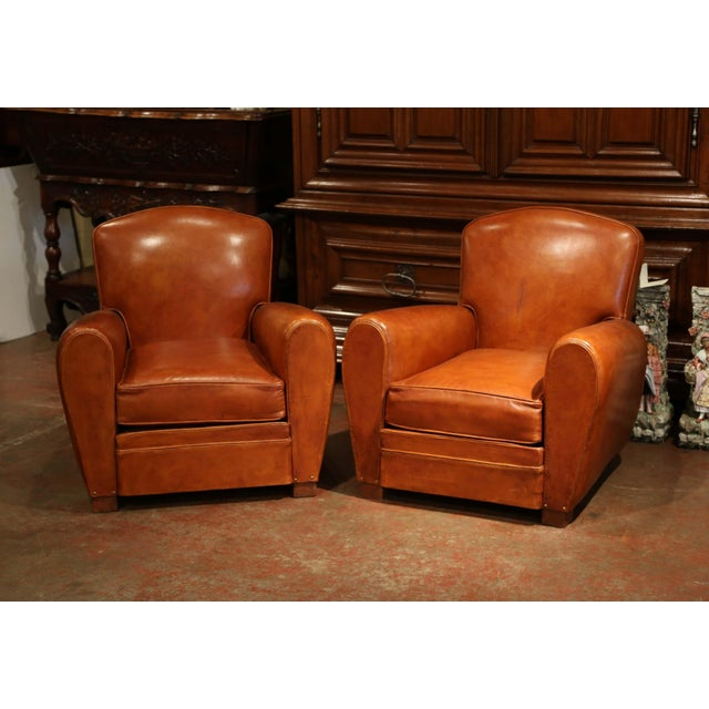 Pair of Early 20th Century French Club Armchairs With Original Brown Leather For Sale In Dallas - Image 6 of 9