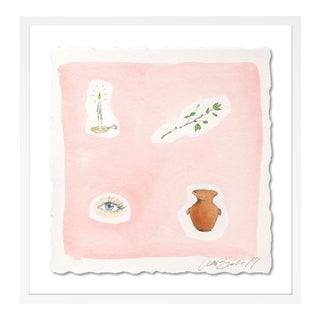 Blush Background by Lia Burke Libaire in White Frame, Small Art Print For Sale
