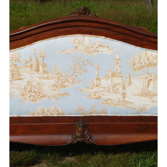 Antique French Louis XV Carved Solid Wood Toile Upholstered Full Double Bed - Image 4 of 11