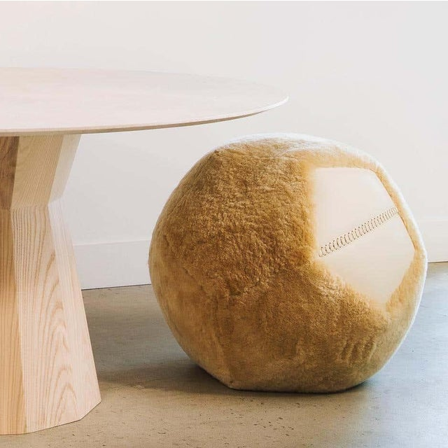 Modern Round Ottoman in Maize Shearling by Moses Nadel For Sale - Image 3 of 7