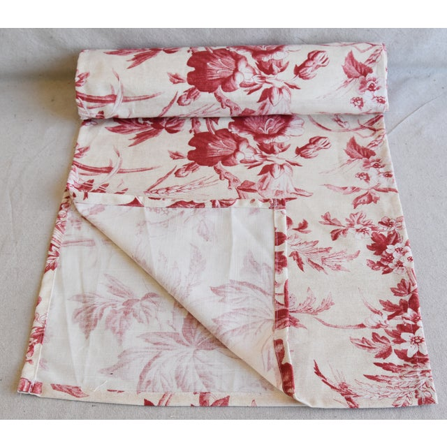"Custom tailored 110"" long table runner created from a vintage/never used French fabric depicting a beautiful red rose and..."