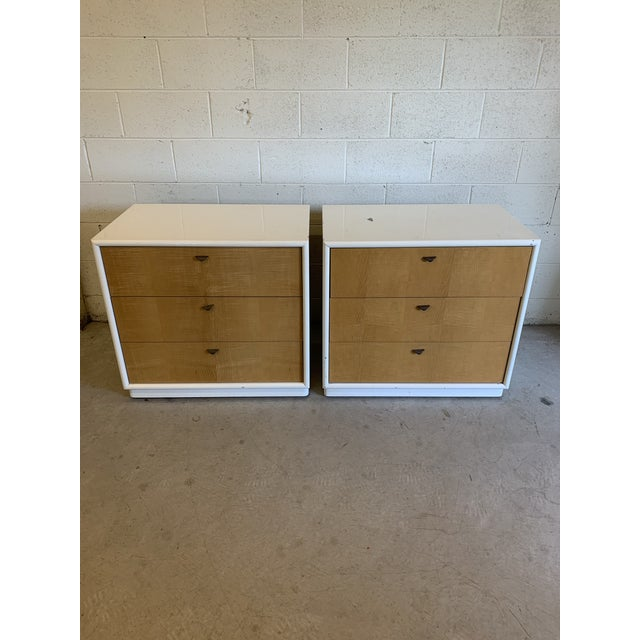 Contemporary White Lacquer & Burl Wood Chests - a Pair For Sale - Image 13 of 13