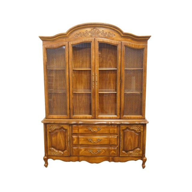 """20th Century French Bernhardt Furniture 60"""" Buffet With Lighted China Cabinet For Sale"""