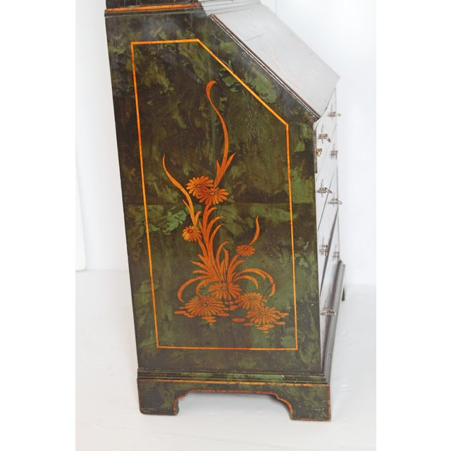 English Chinoiserie Secretary With Mirrored Doors For Sale - Image 12 of 13