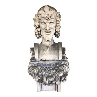 Vintage Dionysus Terra Cotta Bust For Sale