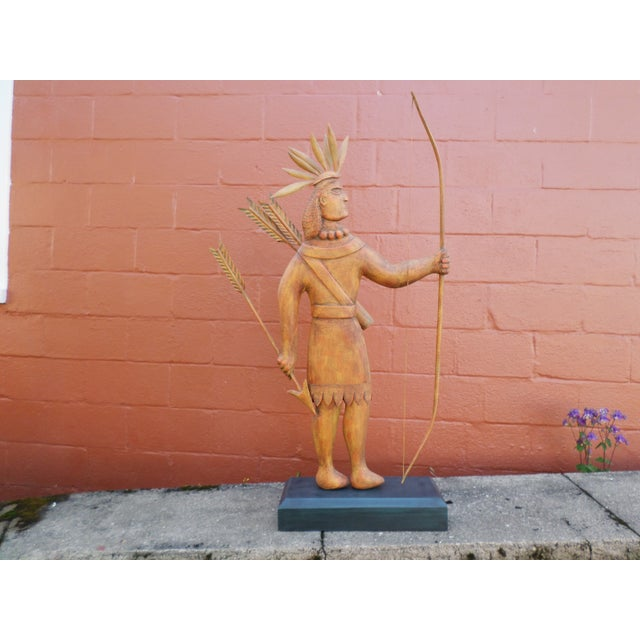 Contemporary Folk Art Carving of an Indian of Impressive Size For Sale - Image 11 of 11