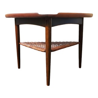 "Danish Modern Walnut and Cane ""Guitar Pick"" Side Table by Poul Jensen. For Sale"