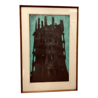 """""""Tower of Babel"""" Large Etching and Engraving by Dean Meeker For Sale"""