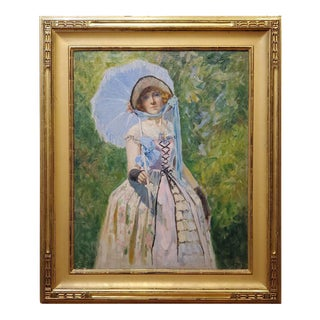 Portrait of a Woman An Oil Painting By Magnus Bakke dated 1924 For Sale