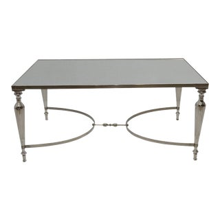 Cakra Contemporary Rectangular Accent Coffee Table, Metal Center Table, Living Room, Mirrored Top- Nickel Plating For Sale