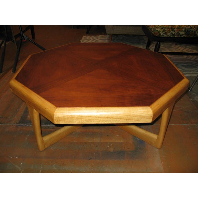 Rare Lane Hexagonal Coffee Table.Great MCM lines. Two color tones work well in any environment. Has mild wear for it's age...