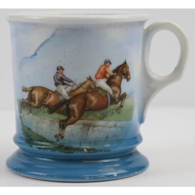 "Steeplechase Porcelain Shaving Mug. Dimensions: 3 7/8""H x 3 1/2""D"