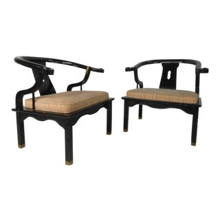 Pair Vintage Modern Black Lacquer Armchairs After James Mont For Sale