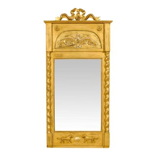 19th Century Swedish Slender Gilded Mirror For Sale