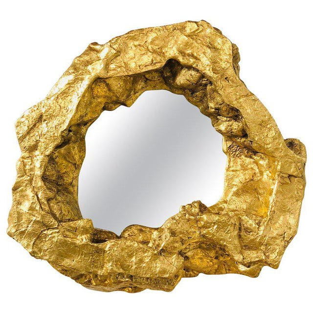 Large Modern Gold Leaf Wall Mirror For Sale In Greensboro - Image 6 of 6