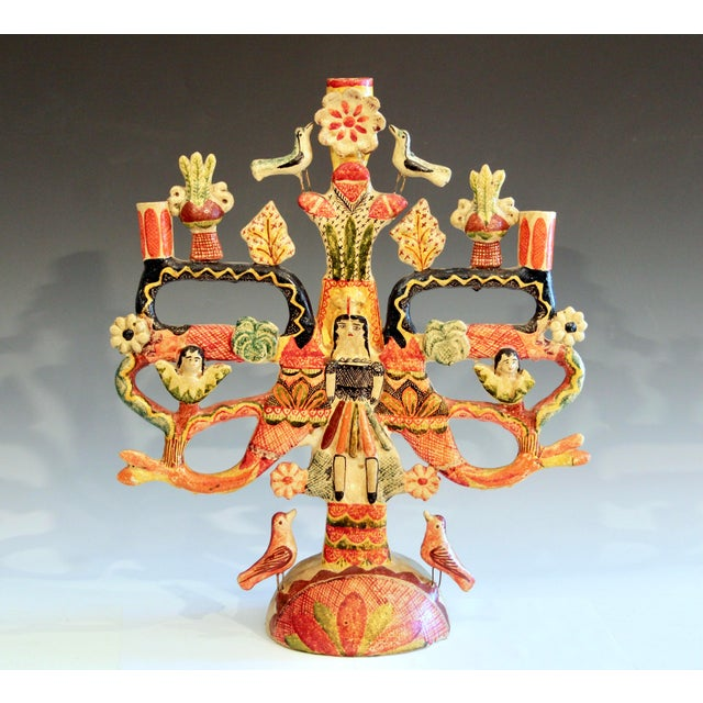 Mexican Vintage Mexican Tree of Life Pottery Aurelio Flores Candelabra Sculpture For Sale - Image 3 of 13