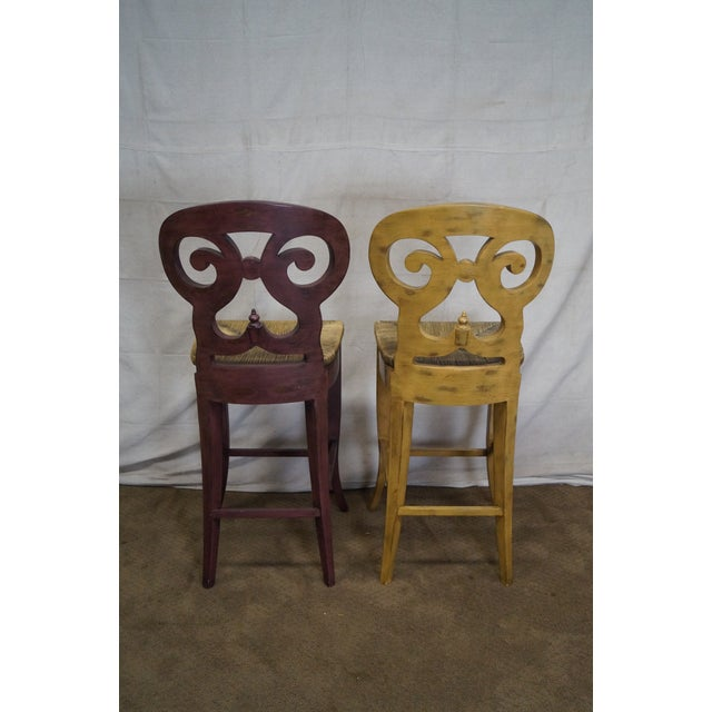 Biedermeier Style Counter Bar Stools - a Pair For Sale - Image 4 of 10