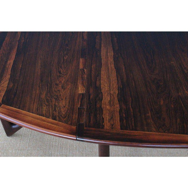 Mid Century Niels Koefoed Rosewood Gate Leg Dining Table, Denmark, 1960s For Sale In Los Angeles - Image 6 of 12