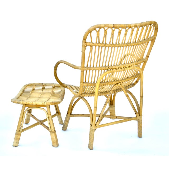 Vintage Rattan Bamboo Chair and Ottoman For Sale - Image 4 of 7