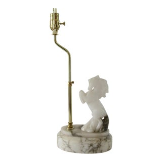 C.1950s Hollywood Regency, Rare Italian Honed Alabaster Marble Rearing Horse Lamp on Carrera Marble Oval Base For Sale