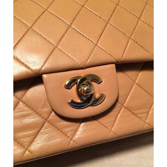 Gold Chanel Vintage Tan 10 Inch 2.55 Double Flap Classic Shoulder Bag For Sale - Image 8 of 12