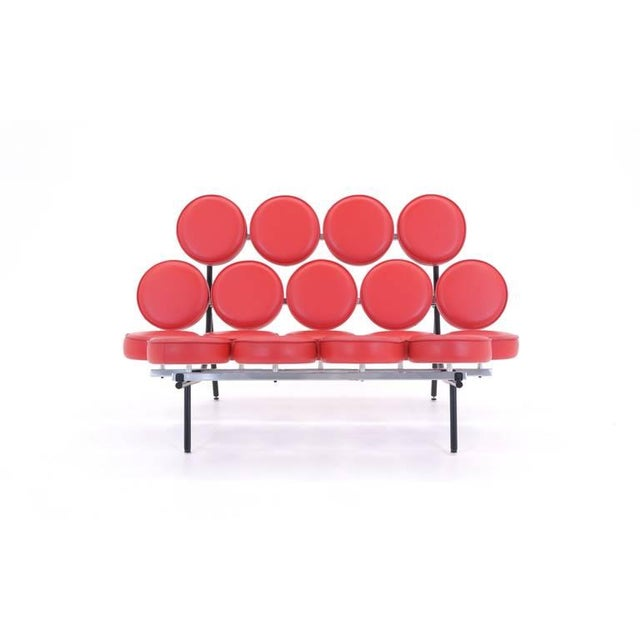 Mid-Century Modern Red Leather George Nelson for Herman Miller Marshmallow Sofa For Sale - Image 3 of 8