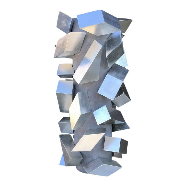 Cubist Silver Leaf Sculpture by Maria Giansante For Sale