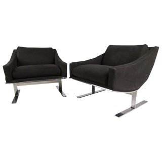 Mid-Century Kipp Stewart Modern Lounge Chairs by Directional For Sale