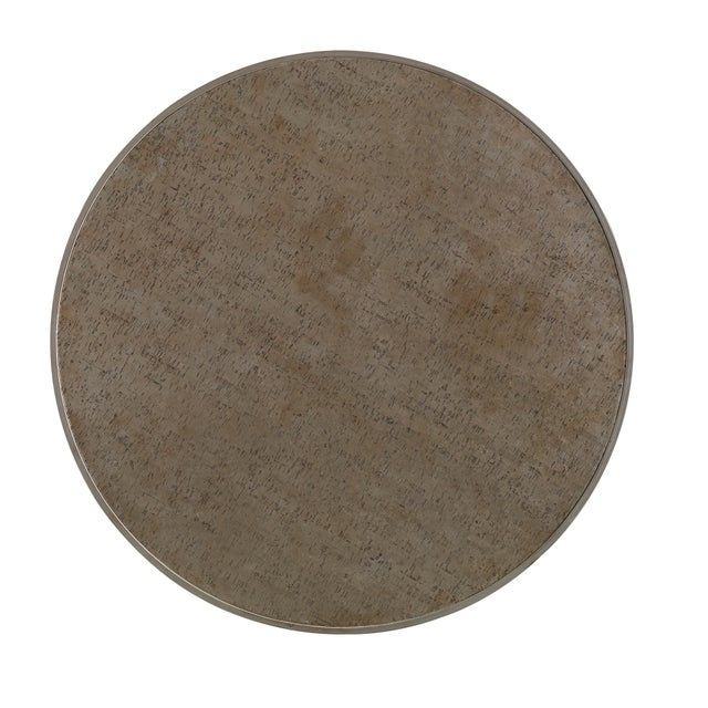 The Cork Drum Coffee Table Large round drum table that is completely surfaced in cork with a handsome metallic bronze...