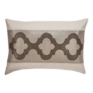 """Piper Collection Metallic Linen and Brown Velvet """"Ceecee"""" Pillow For Sale"""