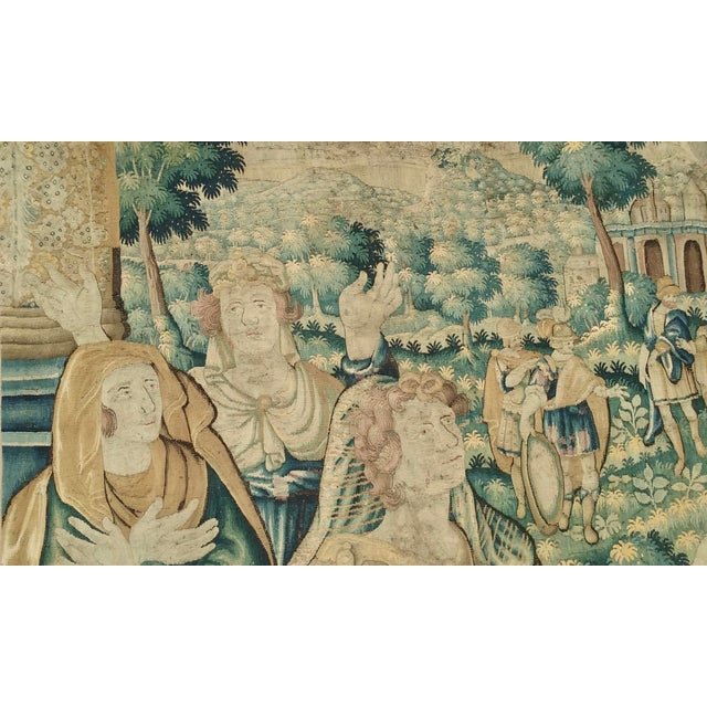 16th Century Antique Flemish Tapestry of Soldier Back From a Battle For Sale - Image 5 of 12