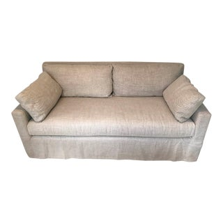 Restoration Hardware Belgian Track Arm Linen Slipcovered Sofa For Sale