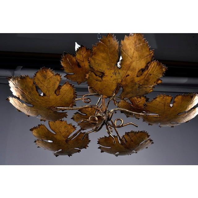 Metal Spanish Gilt Metal Leaf Form Five Light Hanging Fixture For Sale - Image 7 of 13